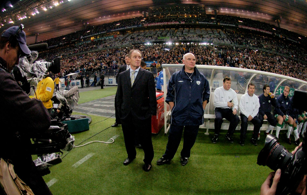 Brian Kerr at the Stade de France in 2004 before a qualifier against France with the late Noel O'Reilly, his assistant manager during his reign as Ireland manager. Photo: Sportsfile
