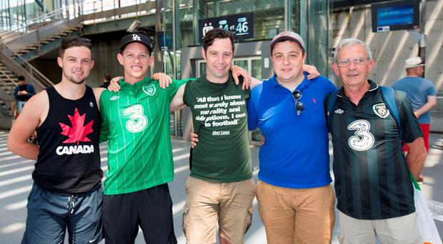 Ernie Murphy from Ennis with his sons (from left), Darragh, Emmet, Eoin and Cillian in France. Photos: Mark Condren