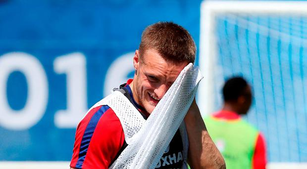 'Vardy, who scored in the 2-1 win against Wales after being used as a second-half substitute, will make way against Iceland'. Photo: PA