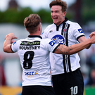 Dundalk's Ronan Finn of Dundalk celebrates after scoring against St Patrick's Athletic at Oriel Park. Photo by Paul Mohan/Sportsfile