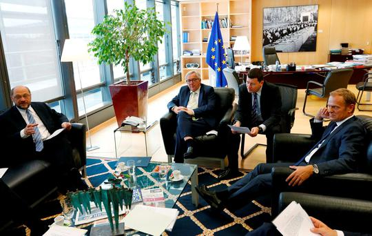 European Parliament President Martin Schulz (L), European Commission President Jean-Claude Juncker (C) and European Council President Donald Tusk (R) attend a meeting after Britain voted to leave the bloc, in Brussels. REUTERS/Francois Lenoir