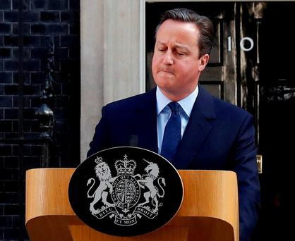 Britain's Prime Minister David Cameron says he will quit outside Number 10 Downing Street. REUTERS/Stefan Wermuth