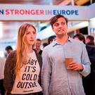 Supporters of the 'Stronger In' Campaign react as results of the EU referendum are announced at a results party at the Royal Festival Hall in London early in the morning. Photo: Getty