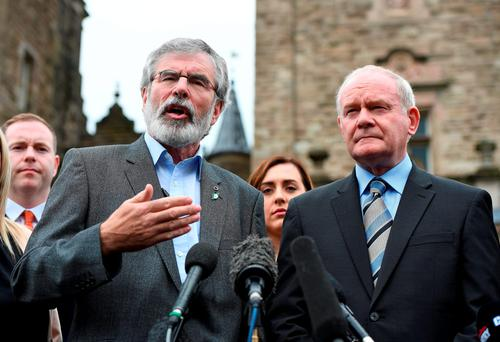 Northern Ireland Deputy First Minister Martin McGuinness (R) and Sinn Fein President Gerry Adams (L) give their reaction to the EU Referendum vote at a press conference outside Stormont Castle in Belfast. (Photo by Charles McQuillan/Getty Images)