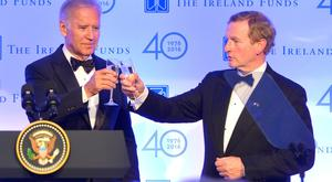 US Vice President Joe Biden and Taoiseach Enda Kenny raise a toast as they attend the Ireland Fund's 40th Anniversary Gala Dinner at Trinity College in Dublin, Ireland Credit: Barbara Lindberg.