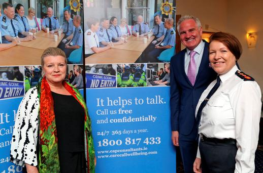 Garda Commissioner, Noirin O'Sullivan pictured with Mary McEvoy and Brent Pope at the launch of an Independent 24/7, 365 Counselling Service for An Garda Siochana in the Westmanstown Conference and Events Centre, Dublin. Picture Colin Keegan, Collins Dublin.