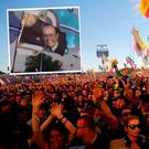 Marty Morrisey featured on a flag at Glastonbury