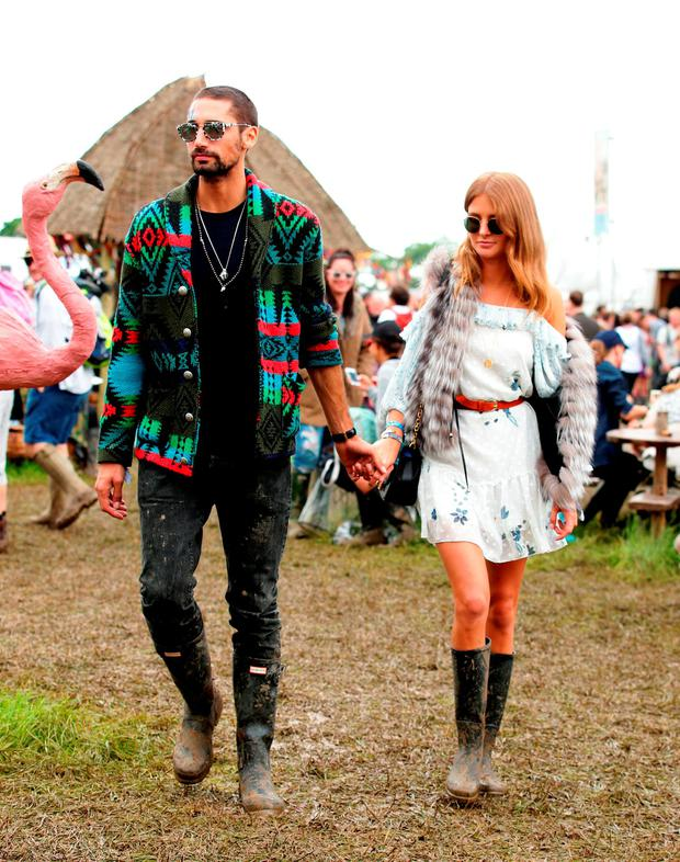 Hugo Taylor and Millie Mackintosh backstage at the Glastonbury Festival at Worthy Farm in Somerset. Picture: Yui Mok/PA Wire