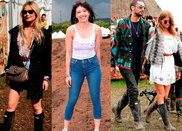 (L to R) Laura Whitmore; Daisy Lowe and Hugo Taylor with Millie Mackintosh at Glastonbury