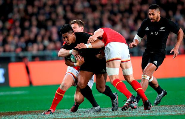 Julian Savea of New Zealand on the charge during the International Test match between the New Zealand and Wales