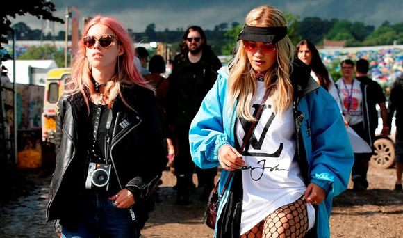 Rita Ora backstage at the Glastonbury Festival at Worthy Farm in Somerset. Picture: Yui Mok/PA Wire