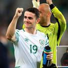 Republic of Ireland's Robbie Brady celebrates victory after the Euro 2016, Group E match at the Stade Pierre Mauroy, Lille. PRESS ASSOCIATION Photo. Picture date: Wednesday June 22, 2016. See PA story SOCCER Republic. Photo credit should read: John Walton/PA Wire. RESTRICTIONS: Use subject to restrictions. Editorial use only. Book and magazine sales permitted providing not solely devoted to any one team/player/match. No commercial use. Call +44 (0)1158 447447 for further information.