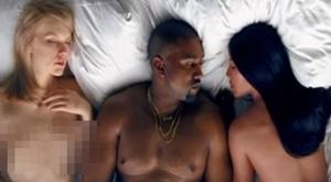 Kanye West and Kim Kardashian with a Taylor Swift look a like in his new music video Famous