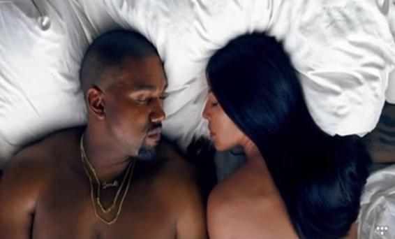Kanye West and Kim Kardashian in his new music video Famous