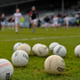 28 February 2016; General view as Tyrone players run to the warm up footballs before the start of the game. Allianz Football League, Division 2, Round 3, Laois v Tyrone, O'Moore Park, Portlaoise, Co. Laois. Picture credit: David Maher / SPORTSFILE