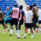 France's coach Didier Deschamps during training