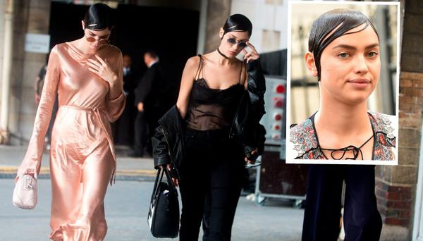 Kendall Jenner and Bella Hadid leave the Givenchy show, inset, Irina Shayk also leaves the show in Paris