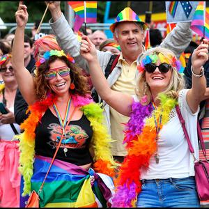 Dolores Quinlan and Valerie O'Dwyer, both from Celbridge, at the Pride Parade in Dublin City Centre. Picture: Steve Humphreys