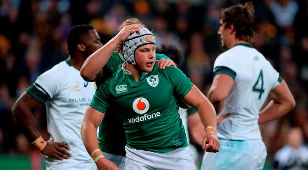 Luke Marshall of Ireland is congratulated after scoring his side's try against South Africa during the Castle Lager Incoming Series 3rd Test between South Africa and Ireland at the Nelson Mandela Bay Stadium in Port Elizabeth, South Africa. Photo by Brendan Moran/Sportsfile