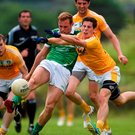 Darragh Treacy of Limerick has a shot at goal charged down by Kevin O'Boyle