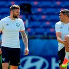 Ireland's Daryl Murphy (left) and Jonathan Walters during a training session on Saturday