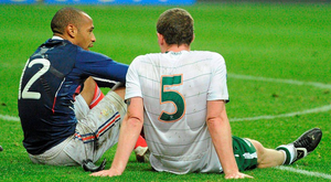 Thierry Henry and Richard Dunne after the Frenchman's infamous handball in 2009. Photo Stephen McCarthy/Sportsfile