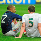 Thierry Henry and Richard Dunne after the Frenchman's infamous handball in. Photo Stephen McCarthy/Sportsfile