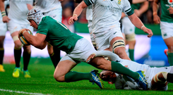 Luke Marshall scores Ireland's only try of the game against South Africa yesterday. Photo: Brendan Moran