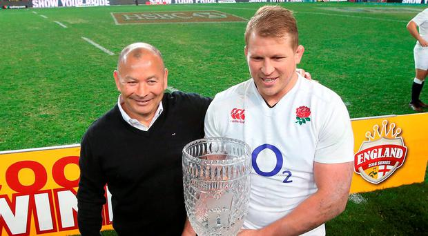 England's coach Eddie Jones, left, with captain Dylan Hartley