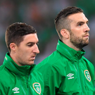 Republic of Ireland players prior to the Group E match against Italy. Photo: Stephen McCarthy/Sportsfile