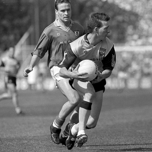 Mick Deegan and Bernard Flynn during the third replay in 1991: 'Logos came on the jerseys for the first time. It was Arnotts versus Kepak'. Photo: Ray McManus / Sportsfile