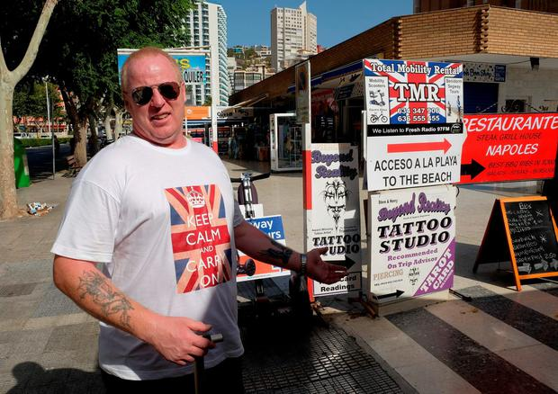 I'm out: British holidaymaker Andy McPhee, who voted to leave the EU, in Benidorm. Photo: Reuters