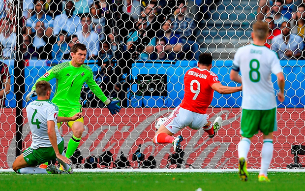 McAuley, who was facing his goal and had Hal Robson-Kanu behind him, could do nothing other than apply the fateful touch. Photo: Stephen McCarthy/Sportsfile
