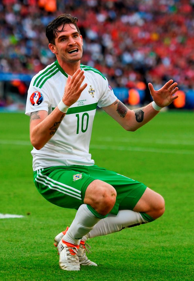 Kyle Lafferty of Northern Ireland reacts after a missed opportunity. Photo: Stephen McCarthy/Sportsfile