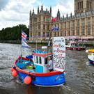 'Leave' campaigners on the Thames last week