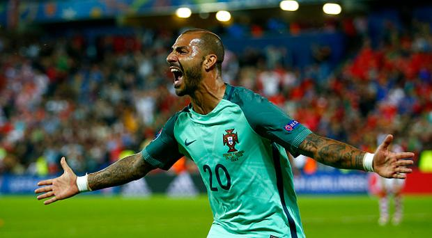 LENS, FRANCE - JUNE 25: Ricardo Quaresma of Portugal celebrates scoring the opening goal during the UEFA EURO 2016 round of 16 match between Croatia and Portugal at Stade Bollaert-Delelis on June 25, 2016 in Lens, France. (Photo by Christopher Lee - UEFA/UEFA via Getty Images)