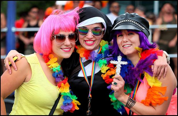 Loud and proud: Melissa Cacchioni from Rome, Gaia Cilento from Milan and Aslessia Scardala from Treviso taking part in the Gay Pride Parade in Dublin City Centre