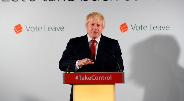 Boris Johnson holds a press conference at Brexit HQ in Westminster, London, after David Cameron has announced he will quit as Prime Minister. Photo: Stefan Rousseau/PA Wire