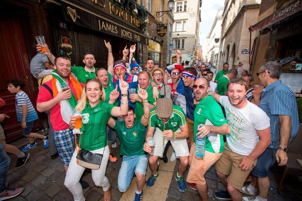 Irish and French fans enjoying Lyon ahead of Ireland's Euro 2016 clash with France