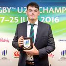 Max Deegan with his award; Credit: Irish Rugby Twitter account
