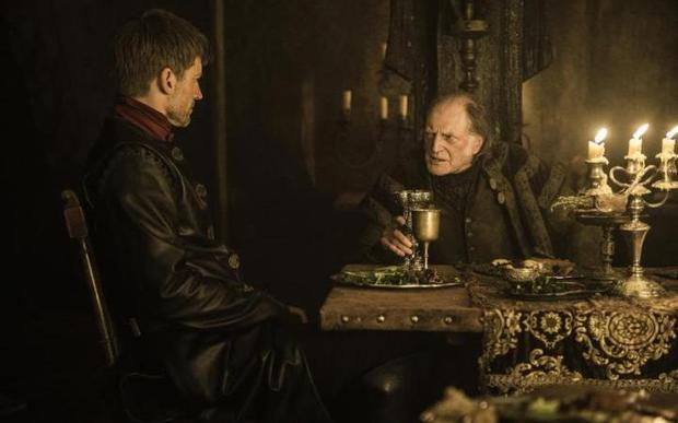 Walder Frey and Jamie Lannister dine together in season six, episode ten. Photo: HBO / Game of Thrones