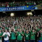 fans of Ireland during the UEFA EURO 2016 Group E group stage match between Italy v Ireland at the Stade Pierre-Mauroy on june 22, 2016 in Lille, France.(Photo by VI Images via Getty Images)
