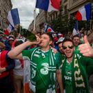 Irish and French fans enjoying the build up in Lyon ahead of Ireland's Euro 2016 clash with France. Pic:Mark Condren 26.6.2016