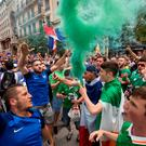 Irish and French fans enjoying the build up in Lyon ahead of Ireland's Euro 2016 clash with France. Pic:Mark Condren