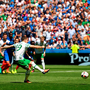 From the spot, Robbie Brady gives Ireland an early lead against France. Photo by Stephen McCarthy/Sportsfile
