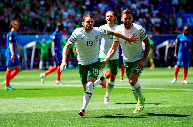 Robbie Brady celebrates scoring the opening goal d (Photo by Laurence Griffiths/Getty Images)