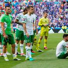 Ireland's Stephen Quinn, Robbie Keane, Seamus Coleman, Shay Given and Shane Long react after the game