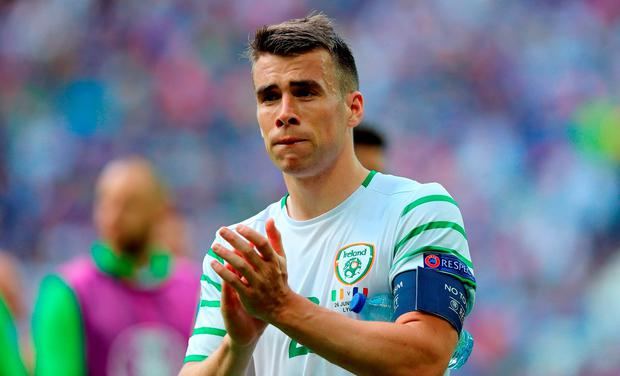 Republic of Ireland's Seamus Coleman applauds supporters after the final whistle during the round of 16 match at the Stade de Lyon
