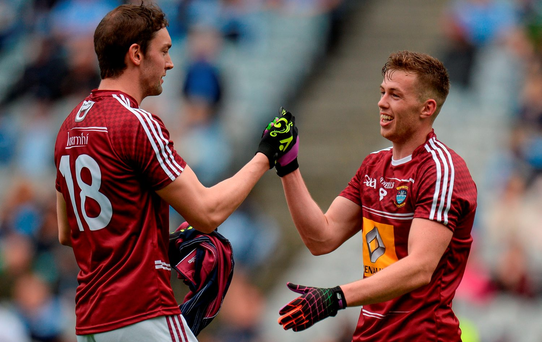 Darragh Daly, left, and Ger Egan of Westmeath celebrate after the Leinster GAA Football Senior Championship Semi-Final match between Kildare and Westmeath