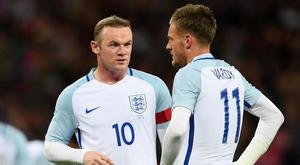 Roy Hodgson has played down any rift between Wayne Rooney and Jamie Vardy. Getty